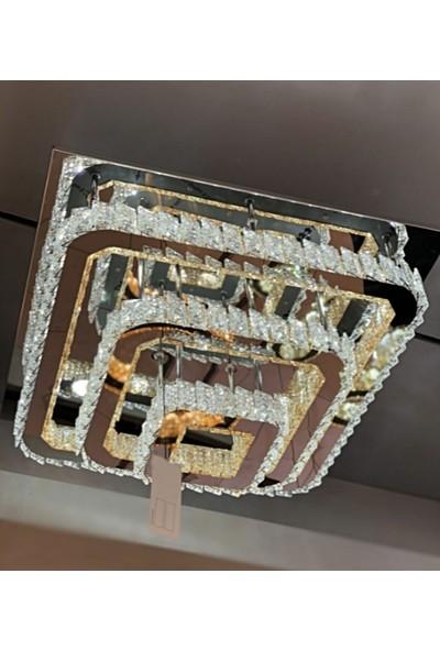 Burenze A+ Luxury Modern Plafonyer Üçlü Kare Kristal Taşlı Power LED Avize Kumandalı 3 Renk Krom BURENZE83