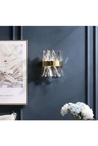 Burenze Modern Luxury Kristal Taşlı Ledli Aplik Gold Eskitme Concept Ürün BURENZE355