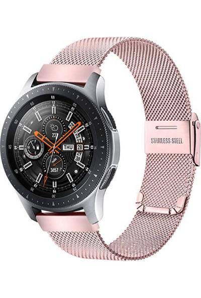 Case 4U C1 Akıllı Saat ve Samsung Galaxy Watch Uyumlu Kordon Hasır Metal Kayış 46mm Rose Gold