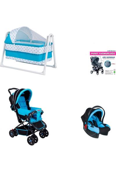 Chubby Baby Set Sallanır Sepet Beşik + Çiftyönlü Rival Araba + Anakucağı Puset + Yağmurluk