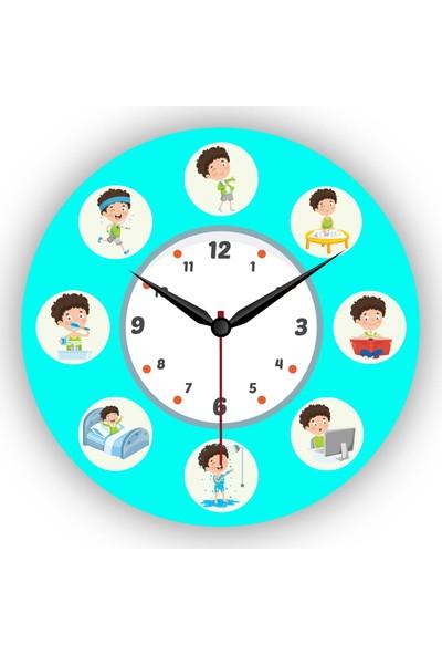 Makeart Baby Çocuk Eğitim Mdf Duvar Saatleri - Erkek Çocuk Eğitimi