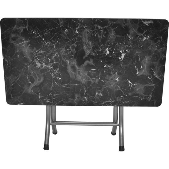 YCL Home Siyah Mermer Katlanır Kırma Katlanabilir Masa 70X120 cm