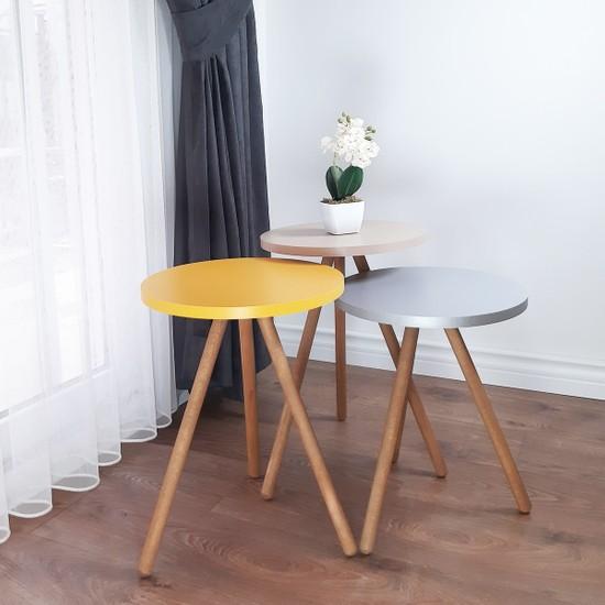 İntergo Renkli 3'lü Zigon Sehpa Ahşap Ayaklı Yuvarlak Pastel Tasarım - Cappuccino Gri Sarı