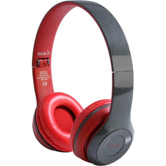 ZORE Kablosuz Bluetooth Kulaklık 5.0 + Edr Fm Radyo Aux ve Hafıza Kartı Girişi Kulak Üstü Katlanabilir