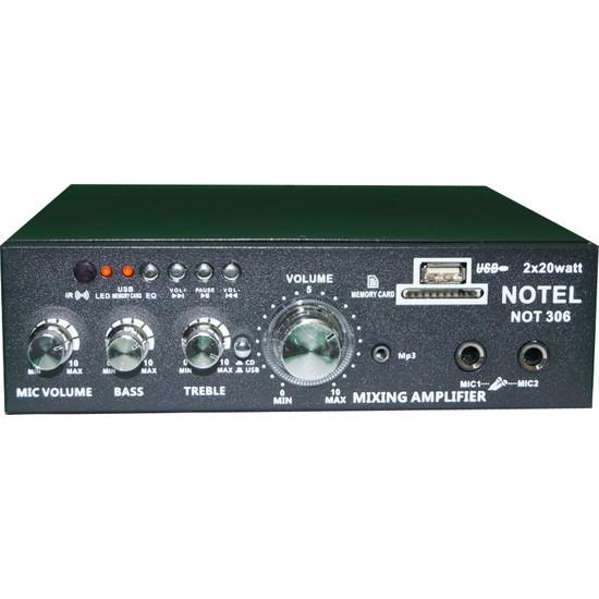 Notel Not 306 Sterio Amfi 2 x 20 W Usb-Sd-Aux-Bluetooth