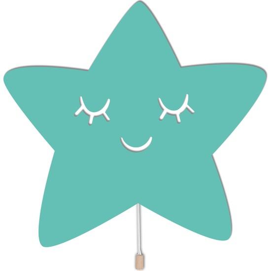 Woodcas Ahşap Çocuk ve Bebek Odası Mint Yeşili Yıldız Gece Lambası