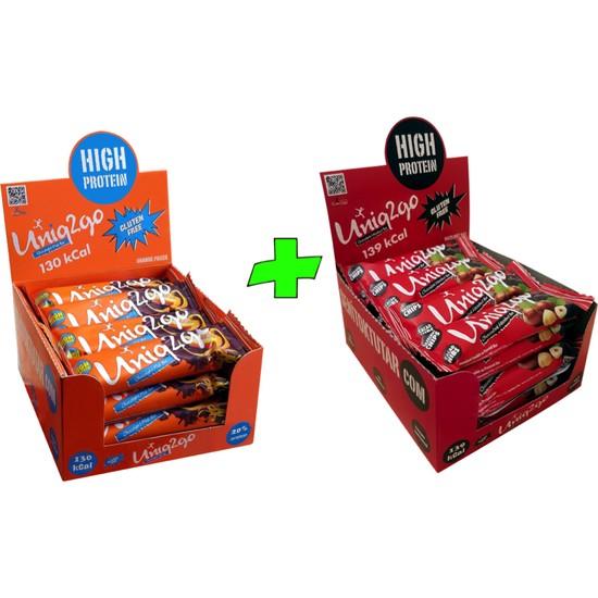 UNIQ2GO Choco Light Mıdı 40 G.- Portakallı 16'lı Kutu + UNIQ2GO Chocodark Mıdı 38 G.- Fındıklı Proteinli Bar 16'lı Kutu (Toplam 32 li Bar)