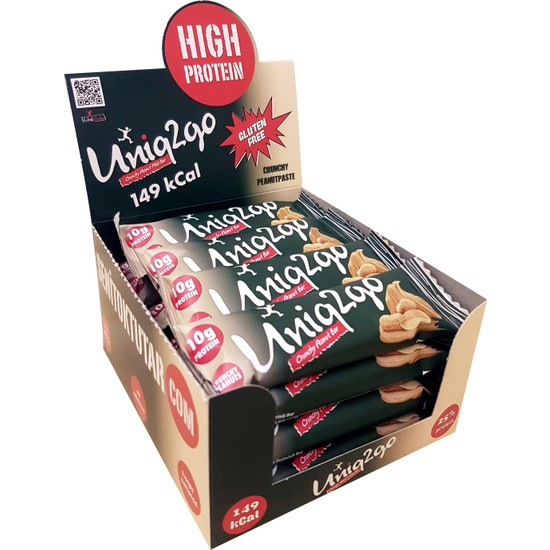 UNIQ2GO Midi - Fıstık Ezmeli Proteinli Bar 40 gr 16'lı Kutu