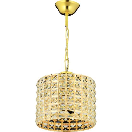 Has Cam Sırma Tekli Gold Kristal Taşlı Sarkıt Avize M