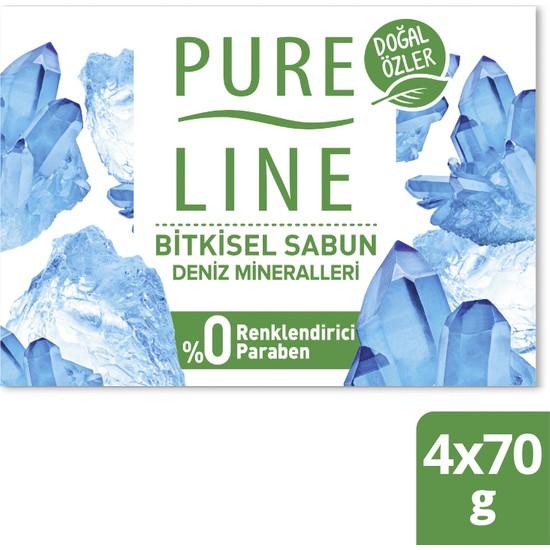 Pure Line Doğal Özler Bitkisel Bazlı Sabun Deniz Mineralleri 4 x 70 gr