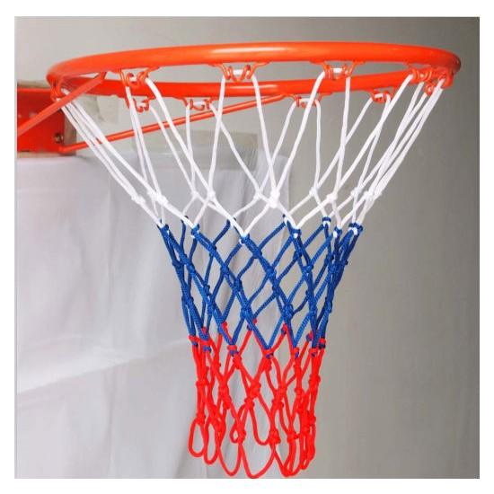 Özbek Basketbol Filesi 4mm Polys. Beyaz - Mavi - Kırmızı - 2 Adet (Basketbol Pota Ağı)