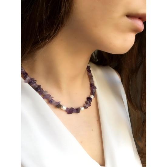 Serpil Jewellery Ametist ve Gerçek Incili Doğaltaşlı Tasarım Kolye