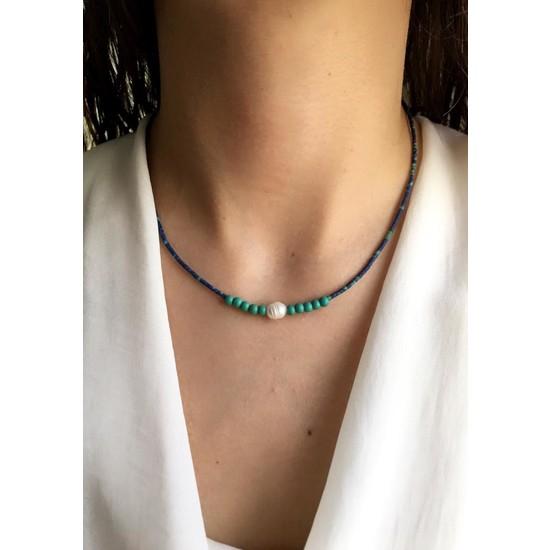 Serpil Jewellery Lacivert Kırçıllı Afgan Boncuklu Turkuaz ve Gerçek Incili Doğaltaş Tasarım Kolye