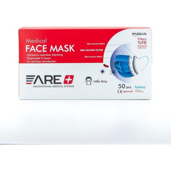Are 1 Kutu Beyaz 50 Adet Meltblown Filtreli Ultrasonik Burun Telli Cerrahi 3 Katlı