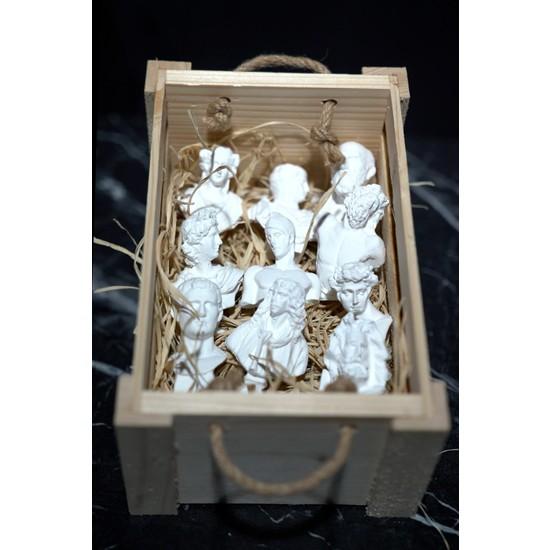 NODUKKAN Yunan ve Roma Mitolojik Minimal Heykel 10'lu Beyaz Set