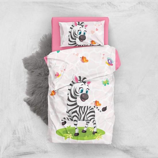 Monohome Cute Zebra 3D Pamuk Saten Bebek Nevresim Takımı