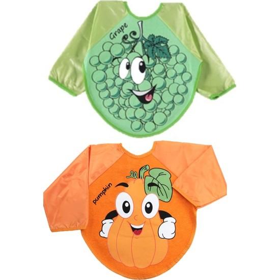 Kids Buude Belinay 2 Adet Giyilebilir Meyve Desenli Kollu Mama Önlüğü