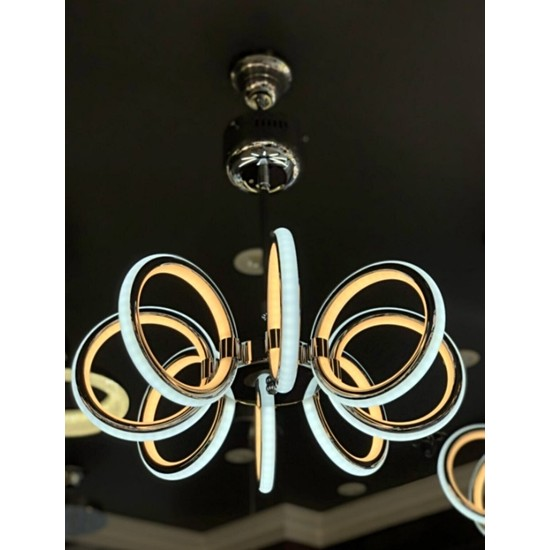 Burenze Modern Plafonyer Sekizli Power LED Avize Kademeli 3 Renk Krom BURENZE309