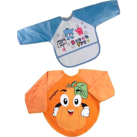 Kids Buude 2 Adet Figürlü Cepli ve Giyilebilir Meyve Desenli Kollu Mama Önlüğü