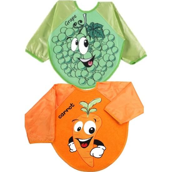 Kids Buude 2 Adet Giyileblir Meyve Desenli Kolu Mama Önlüğü