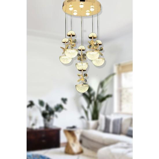 Luna Lighting Modern Luxury Kristal Taşlı 6lı Sarkıt LED Avize Gold Sarı