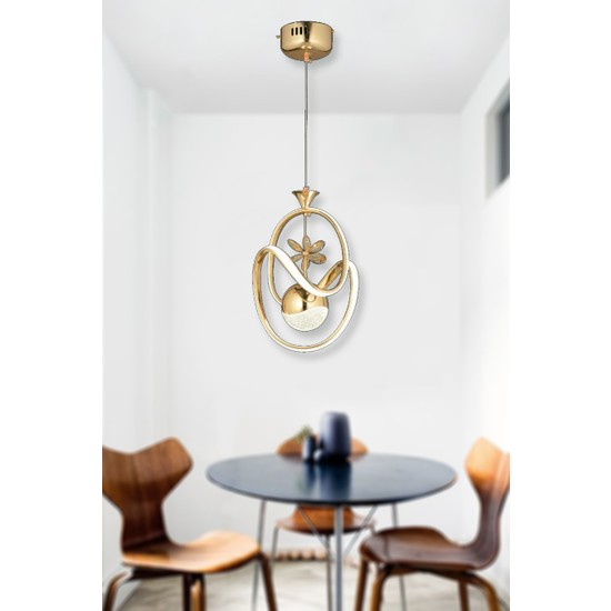 Luna Lighting Modern LED Avize Gold Ledli Avize