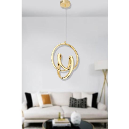 Luna Lighting Modern Luxury LED Avize Gold Sarı