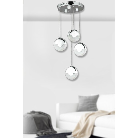 Luna Lighting Modern Luxury 4lü Sarkıt LED Avize Krom