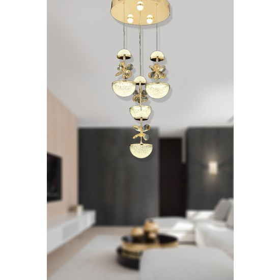 Luna Lighting Modern Luxury Kristal Taşlı 4lü Sarkıt LED Avize Gold Sarı