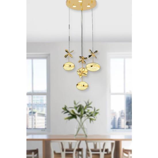 Luna Lighting Luxury 4lü Kristal Taşlı Gold Sarı Sarkıt LED Spor Modern Avize