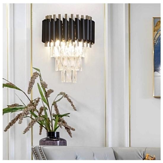 Burenze Modern Luxury Kristal Taşlı Aplik Gold Sarı Siyah BURENZE775