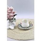 GÖNÜL POSELEN Gönül Porselen 12 Parça 6 Kişilik Mozaik Çiçek Desenli Porselen Kahve Fincanı Takımı G2637L