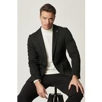 Altınyıldız Classics Erkek Slim Fit Dar Kesim Mono Yaka Siyah Casual Ceket