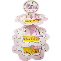 Kullanatparty Prenses 1 Yaşında Pembe Cubcake Kek Standı