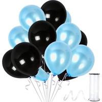 Kullanatparty 30 Adet Metalik Balon Rafya Hediyeli Siyah-Bebek Mavisi