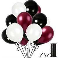 Kullanatparty 30 Adet Metalik Balon Rafya Hediyeli Beyaz-Bordo-Siyah