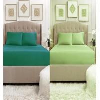Lady Moda 2 Adet Çift Kişilik Pamuklu Penye Lastikli Çarşaf | Koyu Yeşil & Açık Yeşil