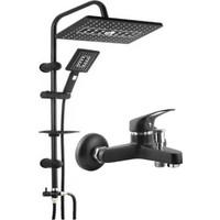 On2 Lüks Krom Yağmurlama Tepe Robot Duş Seti ve Siyah Banyo Bataryası