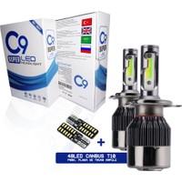 C9 Trio Üç Renk LED Xenon Far Ampulü Buz Mavi Beyaz Gün Işığı 9400 Lümen 10000K H27