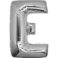 Kullanatparty Parti Malzemesi Doğum Günü Folyo Balon Helyum Ile Şişen Gümüş Renk-E HARFI-100 cm ( 42 Inç )