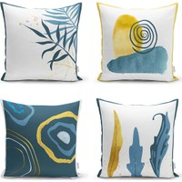 4'lü Renkli Zemin Üzerinde Gold Detaylı Yaprak Desenli Modern Yastık Kırlent Kılıf Seti