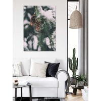 Dekoliya Kış Çam Ağacı Kozalak Dekoratif Kanvas Tablo 30 x 45 cm