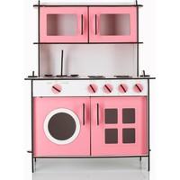 Emrin Oyuncak Hediyelik - Pembe Renk Montessori Ahşap Evcilik Oyuncak Mutfak Seti