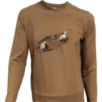 Spayko Kuşlu Kahverengi Uzunkol T-Shirt