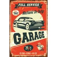 Atc Klasik Araba Garaj Retro Vintage Ahşap Poster