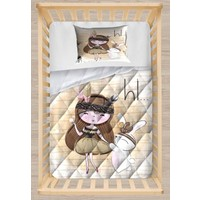 Else Kahverengi Bohem Kız Tavşan Kapitoneli 3D Desenli Bebek Yorgan Uyku Seti