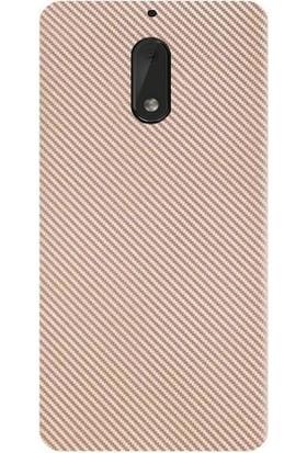 Magazabu Nokia 6 Kılıf Armor Carbon Fiber Silikon- Rose Gold