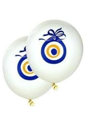 Kullanatparty Nazar Boncuğu Baskılı Beyaz Balon 100 Adet