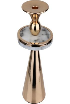 Lucky Art Beyaz Mermer Desenli Gold Şamdan 28 cm