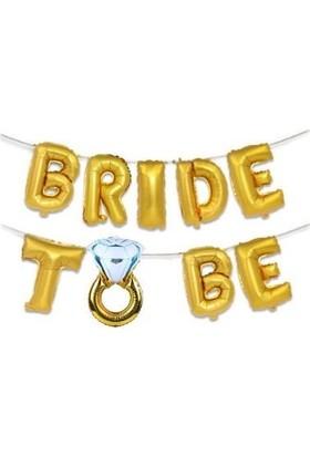 Kullanatparty Bride To Be Yüzüklü Folyo Set 40 Inç 100 cm Altın Renk